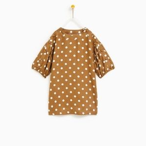 Zara girls brown and white polka dot dress